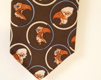 Vintage 1960s Brown Eagle Silk Necktie by Neiman Marcus