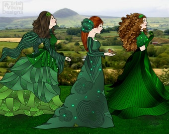 Irish landscape, Ireland art print, Queens O' the Green, Irishwomen, Irish woman, Ireland wall art, Slemish Mountain,shamrocks,Irish nursery