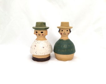 Pair of Vintage Ceramic Dutch Couple Figurine Scandinavian Candle Holders