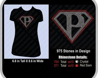 Superhero P Rhinestone T Shirt