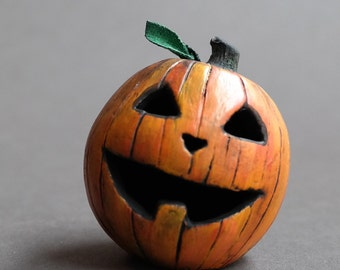 Tiny Jack O Lantern - One of a Kind - Pumpkin Head - Halloween - Dollhouse