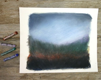 Landscape Painting- Field and Sky- Original Mixed Media- Fine Art- Woodland, Twilight- Blue, Rust, Green, Black- 8x10