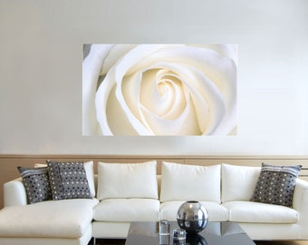 Canvas Prints -  White Rose Canvas Wall Art - Canvas Prints of  Rose -  Flower Canvas Print - Framed Ready to Hang - Floral Prints On Canvas