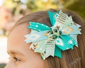 Large Native Tribal Hair Clip Bow, Teal Mint Green, Turquoise Gold Arrows Boho, Little Girl First Birthday Outfit Feathers Unique Headband