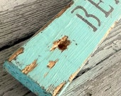 Beach Decor, Distressed Wood Beach Sign, Reclaimed Wood Wall Art Plaque, Housewarming Sign, Rustic Hand Painted, Custom Color