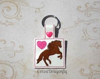Chestnut Rearing Horse Key Fob, Pink, Horse Key Chain