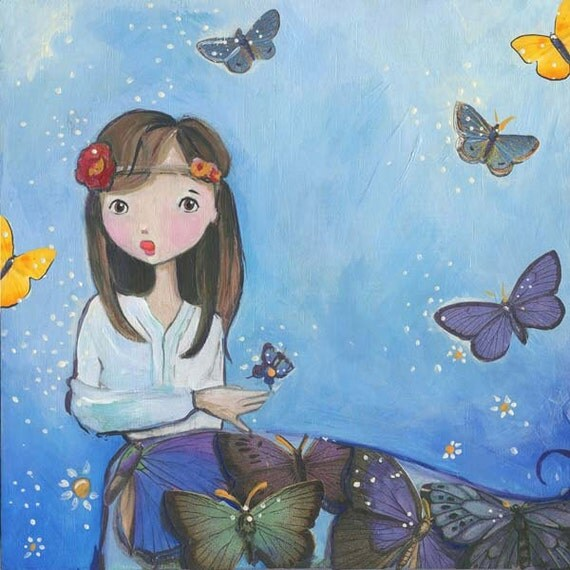Aster, Butterfly Girl art, Print