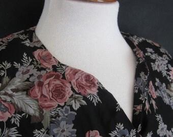 1980s Vintage Pink Flowered Black Laura Ashley Dress