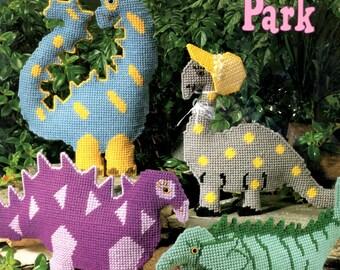 Dinosaur Park Stegosaurus Spotted Stripes Triangles Bonnet Cheerful Playful Plastic Canvas Needlepoint Embroidery Craft Pattern Leaflet 3130