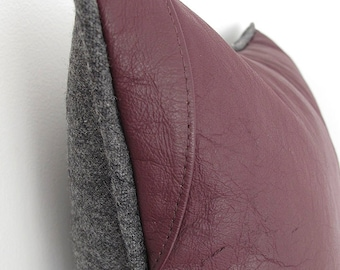 Burgundy Leather Pillow ... Luxe Piped Leather Cushion