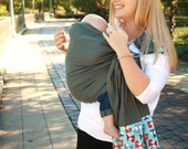 Baby Sling Linen Banded Ring Sling Baby Carrier - Foxy -Instructional DVD Included - FAST SHIPPING