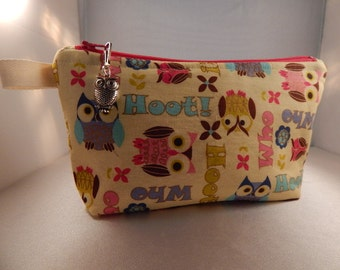 Owl Print Owl Charm Ivory Pink Turquoise Makeup Bag Cosmetic Travel Bag Organizer Bag Cute