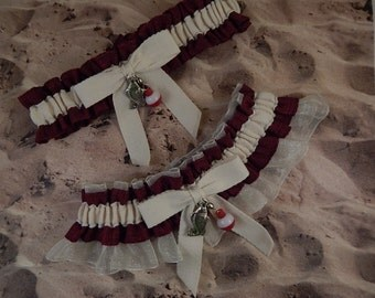 Fishing Burgundy Red Linen Look Ivory Twill Ivory Organza Fish Bobber Charm Wedding Bridal Garter Toss Set