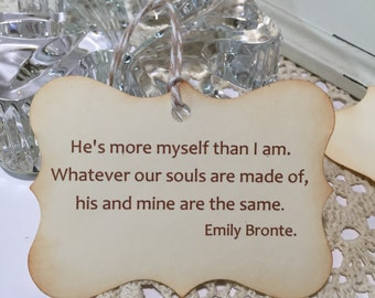 Wedding Favor Tags...Gift Tags..Love Theme Thank You Tags Bridal Shower Bridal Party Wedding Day Emily Bronte Quote Tags Set of 12