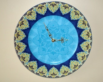 11 Inch Ornate Gold Turquoise Blue Wall Clock, SILENT Porcelain Plate Clock, Kitchen Clock, Unique Wall Clock, Gift for Woman - 2173
