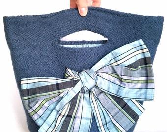Eileen Felt Purse Dusk Blue Bag Hand Knit Wool Silk Bow