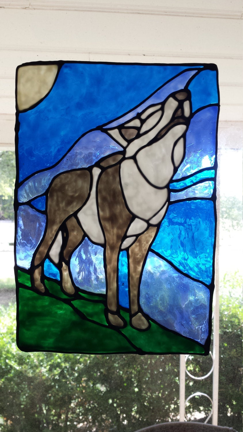 howling wolf stained glass window cling. Black Bedroom Furniture Sets. Home Design Ideas