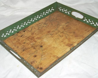 Mid Century Toleware Tole Tray with Map of New York and Ontario Canada