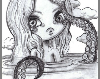 Day #141 - Lost - tentacle girl original sketch a day drawing! 5.5 x 8.5