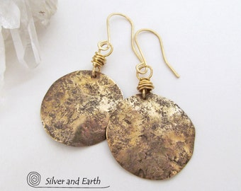 Hammered Brass Earrings Artisan Handmade Tribal Jewelry Everyday Small Gold Earrings Textured Metal Jewelry Gold Round Dangling Earrings