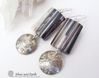 Sardonyx Earrings, Sterling Silver Earrings, Black & White Gemstone Dangle Earrings, Natural Stone Jewelry, Artisan Handmade Silver Jewelry