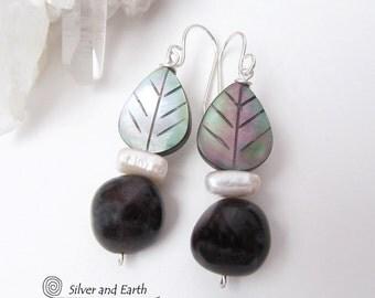 Garnet Earrings, Mother of Pearl Earrings, Unique Beaded Dangle Earrings, Garnet Jewelry, Gift for Her, Mother of Pearl Carved Leaf Earrings