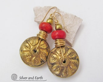Boho Chic Earrings, Vintage Brass Earrings with Leaf Design, Red Coral Earrings, Tribal Bohemian Earrings, Unique Handmade Beaded Jewelry