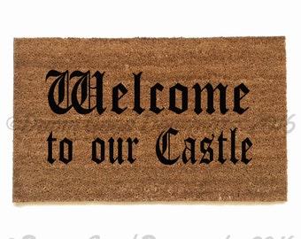 CASTLE Welcome medieval doormat
