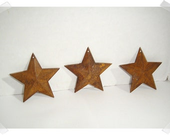 "Rusty Color Star Ornaments/2 & 1/4"" wide/ Set of 3/ Primitive/ Craft Supplies*"