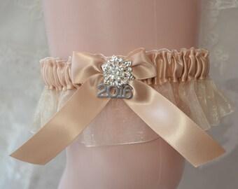Prom Garters- 2016 Prom Garter-Champagne Prom Garter- Custom Color Prom Garter