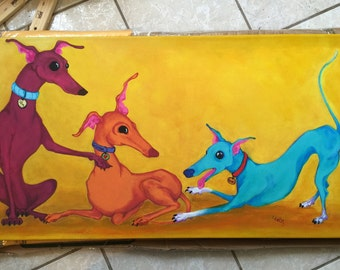"Greyhound art, Italian greyhounds, playfull hounds 10x20"" stretched canvas Giclee"