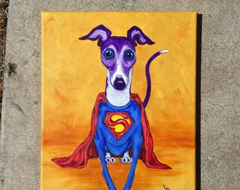 "Christmas Sale, Pet art print, Super Iggy 9x12"" stretched canvas Giclee"