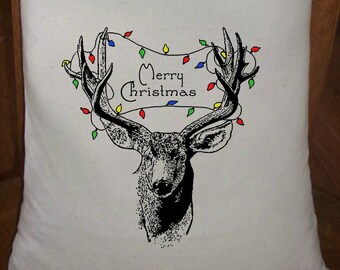 Feed Sack, Flour Sack Bag, Deer Sack, Christmas Country Decor, Muslin Bag, Vintage Feed Sack, Cotton Sack, Deer Antlers Wrapped in Lights