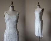 50s Dress - Vintage 1950s Dress - White Sequins Bombshell Evening Cocktail Dress S - Aurora Borealis Dress