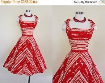 ON SALE 50s Dress - Vintage 1950s Hawaiian Dress - Red Novelty Print Cotton Full Skirt Sundress S - Tiki Gods