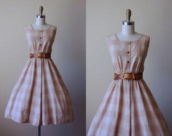 60s Dress - Vintage 1960s Dress - Neutral Tan Plaid Cotton Voile w Gold Metallic Accents Full Skirt Sundress L XL - Westward Ho Dress