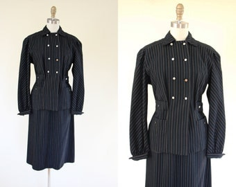 1940s Suit - Vintage 40s Black Electric Blue Pinstriped Wool Jacket Skirt Suit XS S - Lady Gangster Suit