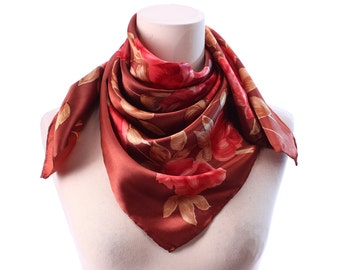 Bohemian Silk Scarf 60s Rust Brown Red Roses Print Ladies Satin 30 inch Square Floral Printed Vintage 1960s Retro Headscarf Neck Wear GIFT