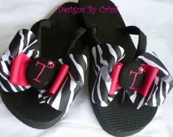 Custom design your perfect personalized Gift! Bow Monogram Flip Flops. Ladies & Girls. Wedding Bridesmaid Flip Flops
