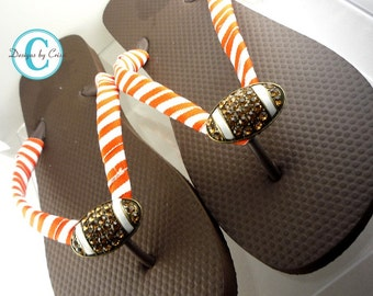 Design your Own Football Flip Flops! Orange Stripe - many colors and sizes.