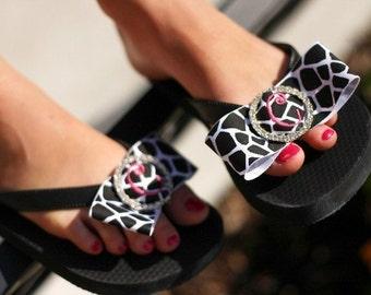 Monogram Rhinestone Bow Flip Flops- giraffe or zebra or any ribbon, all sizes, ladies girls