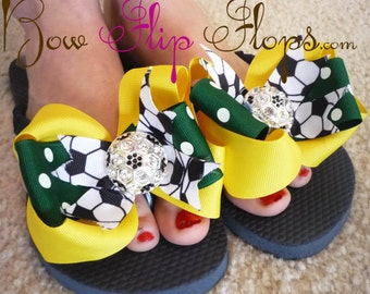 Rhinestone Soccer Bling Flip Flops with Bows