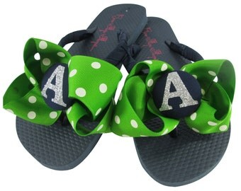 Apple Green Polka & Navy Silver Glitter Bow Flip Flops. For Bridesmaid Flip Flops or Gifts! All sizes and many colors.