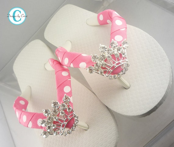 Princess Flip Flops. Rhinestone Crown Flip Flop Sandals with Hot Pink Polka Ribbon in all sizes for girls and ladies.