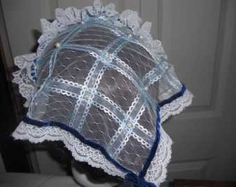 Civil War Lace and Net Day Cap with Pearls, New