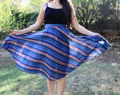 RIVER WILD - 1990s 90s 80s Swirl Circle Skirt Teal Magenta Gold Plum Striped Stripes Swirls Retro Cute Classic Fun Dance Med