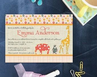 The Emma Retro Zoo Girl Baby Shower Invitation Animal Safari Pink Yellow Gray Linen DIY Printable Invite or Printed