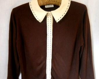 """CLOSING SALE Vintage 1950 1960s Sweater Girl cardigan.38"""" bust. Medium.Talbott Taralan orlon acrylic. Full Fashioned."""