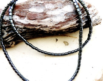 Vintage Hematite Extra Long Necklace Magnetic Healing Magnet Gunmetal Silver Gemstone Feng Shui Statement 18""