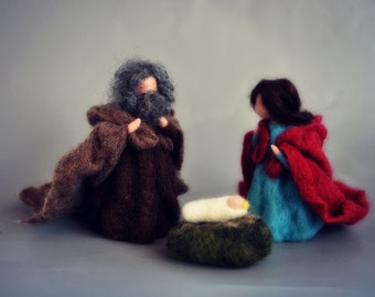 Needle felted Nativity Scene. Nativity Set. Waldorf Education. 3 pieces. Made to orders